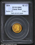 1834 $2 1/2 Classic MS62 PCGS. The 1834 was produced to the extant of 112,234 pieces, a not insignificant total for a Cl...