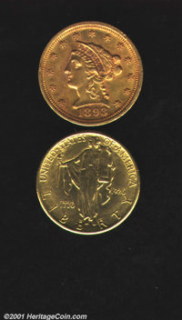 An Uncertified pair: 1893 $2 1/2 AU50, deep yellow-golden surfaces; and a 1926 Sesquicentennial AU50 Polished, bright ye...