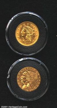 An Uncertified pair: 1907 $2 1/2 MS61, excellent detail; and a 1913 MS60, good golden color
