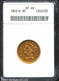 1852-D $5 XF40 ANACS. Moderate abrasions with reddish-gold coloration. The strike, while not full, is above average for...