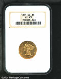 1871-CC $5 XF45 NGC. The '71-CC is a difficult coin but not as challenging as the other Half Eagles from this mint from...