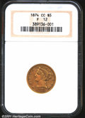 1874-CC $5 Fine 12 NGC. A dull mustard color blankets all surfaces on this nicely worn coin. More detail remains on the...