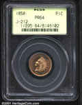 1858 P1C Indian Cent, Judd-212, Pollock-263, R.5, PR64 PCGS. Similar to the regular issue Indian Cent but with a broad...