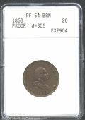 1863 2C Two Cents, Judd-305, Pollock-370, R.4, PR64 Brown ANACS. A portrait of Washington facing right is encircled by t...