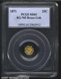 California Fractional Gold: , 1871 25C BG-765