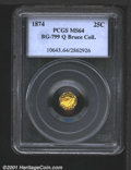 California Fractional Gold: , 1874 25C BG-799 Q