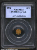 California Fractional Gold: , 1872 25C BG-818 W H