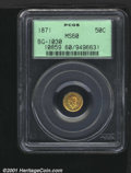California Fractional Gold: , 1871 50C BG-1030