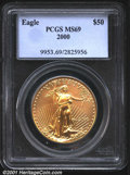 2000 G$50 One-Ounce Gold Eagle MS69 PCGS. Breathtaking quality