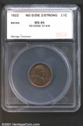 Additional Certified Coins: , 1922 1C No D Strev, BN