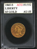 Additional Certified Coins: , 1865-S $5