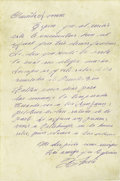 Autographs:Letters, 1960's Roberto Clemente Handwritten Letter. Single handwritten pageis penned in Clemente's native Spanish. Translated tex...