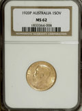 Australia: , Australia: George V gold Sovereign 1920-P, KM-29, MS62 NGC, highlylustrous, good color, very clean surfaces....