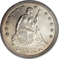 Seated Quarters: , 1874 25C Arrows MS65 PCGS. The 1874 quarter, with a mintage of471,200 business strikes, is according to Larry Briggs, writ...