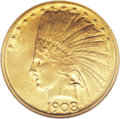 Indian Eagles: , 1908 $10 No Motto MS63 NGC. The Philadelphia Mint produced 33,500pieces of the No Motto Indian Head ten dollar in 1908 com...