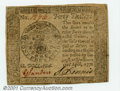 Colonial Notes:Continental Congress Issues, Continental Currency April 11, 1778 $40 Choice About New. A...