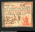 Colonial Notes:Georgia, Georgia June 8, 1777 $3 Extra Fine. A problem-free example ...