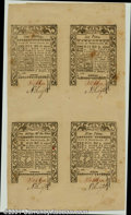 Colonial Notes:Rhode Island, Rhode Island May, 1786 6d, 9d, 1s, 2s6d Uncut Sheet of Four C...