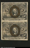 Fractional Currency:Second Issue, Fr. 1233 5¢ Second Issue Vertical Pair Choice about New. A ...