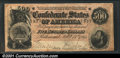 Confederate Notes:1864 Issues, T64 $500 1864. An evenly circulated Fine-Very Fine $500...
