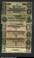 Confederate Notes:1864 Issues, A group of Confederate Notes, all of which bear radar serial nu...