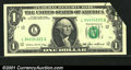 Error Notes:Foldovers, Fr. 1913-L $1 1985 Federal Reserve Note. Gem Crisp Uncirculat...