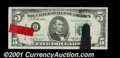 Error Notes:Ink Smears, Fr. 1970-B $5 1969A Federal Reserve Note. Choice Crisp Uncirc...