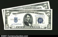 Small Size:Silver Certificates, Fr. 1653*/Fr. 1654* $5 1934C/1934D Silver Certificates. Chang...