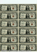 Small Size:World War II Emergency Notes, Fr. 2300 $1 1935A Hawaii Silver Certificates. Uncut Sheet of ...