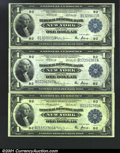 Large Size:Group Lots, Three $1 1918 Federal Reserve Bank Notes. All three are New...