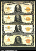 Large Size:Group Lots, Four $10 1922 Gold Certificates. Three are Fr. 1173 and the...