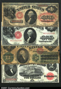 Large Size:Group Lots, Four Circulated Legal Tender Notes. Fr. 27 $1 1878 Very G...