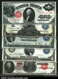 Large Size:Group Lots, Five Different Large Size Type Notes. The lot consists of a...
