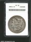 """1893-O $1 VF20 ANACS. Mintage: 300,000. The latest Coin World """"Trends"""" price is $125.00. ...(PCGS# 7224)"""