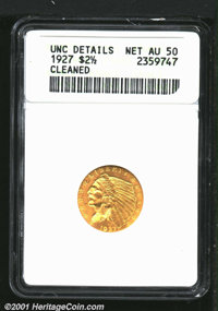 1927 $2 1/2 MS 64 Cleaned. This is a coin that looks like a full Gem at first glance due to its awesome luster. Close in...