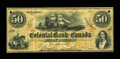 Canadian Currency: , Toronto, CW- The Colonial Bank of Canada $50 Aug 4, 1859 Ch. #130-10-02-16. ...