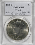 Eisenhower Dollars: , 1976-D $1 Type Two MS66 PCGS. PCGS Population (667/22). NGC Census: (216/9). Mintage: 82,179,568. Numismedia Wsl. Price for...