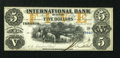 Canadian Currency: , Toronto, CW- The International Bank $5 September 15, 1858 Ch. #380-10-12-G16a. ...