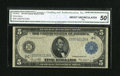 Fr. 855a $5 1914 Federal Reserve Note CGA About Uncirculated 50