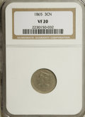 Three Cent Nickels: , 1865 3CN VF20 NGC. NGC Census: (4/1328). PCGS Population (9/1611).Mintage: 11,382,000. Numismedia Wsl. Price for NGC/PCGS ...