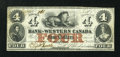 Canadian Currency: , Clifton, CW- The Bank of Western Canada $4 Sept. 30, 1859 Ch. #795-10-12. ...