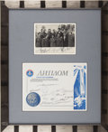 Explorers:Space Exploration, Group Signed Photograph of Early Cosmonauts and a CertificateSigned by Later Cosmonauts,...