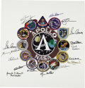 Explorers:Space Exploration, Large Apollo Patch Comprised of 12 Individual Manned Mission Patches with 15 Astronaut Signatures. ...