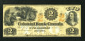 Canadian Currency: , Toronto, CW- The Colonial Bank of Toronto $2 18xx Ch. #130-12-02-04. ...