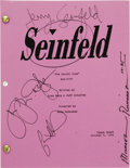 "Movie/TV Memorabilia:Autographs and Signed Items, ""Seinfeld"" Cast Signed Script. A table draft of the season sevenepisode ""The Secret Code,"" dated October 6, 1995, signed on..."