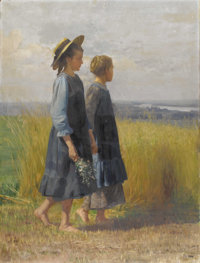 OSWALD GRILL (Austrian 1878-1964) Two Peasant Girls In A Field (Summertime Idyll), circa 1912 Oil on canvas 41-1/2 x