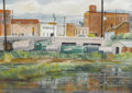 Texas:Early Texas Art - Regionalists, MARY THOMPSON (1912-2001). Backstreets of Nacogdoches.Watercolor. 14in. x 20in.. Signed lower left. Titled verso. Cat...