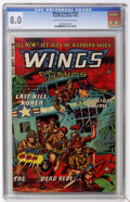 Golden Age (1938-1955):War, Wings Comics #122 (Fiction House, 1953) CGC VF 8.0 Light tan tooff-white pages....