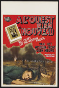 "Movie Posters:War, All Quiet on the Western Front (Universal, R-1940s). Belgian (14"" X22""). War. Starring Lew Ayres, Louis Wolheim, John Wray,..."
