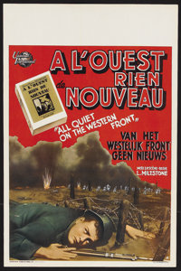 "All Quiet on the Western Front (Universal, R-1940s). Belgian (14"" X 22""). War. Starring Lew Ayres, Louis Wolhe..."